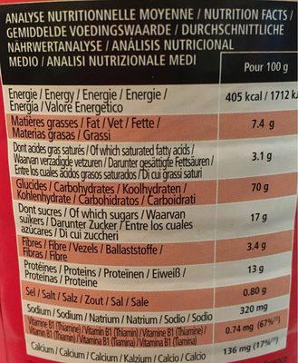 Spordej - Voedingswaarden - fr