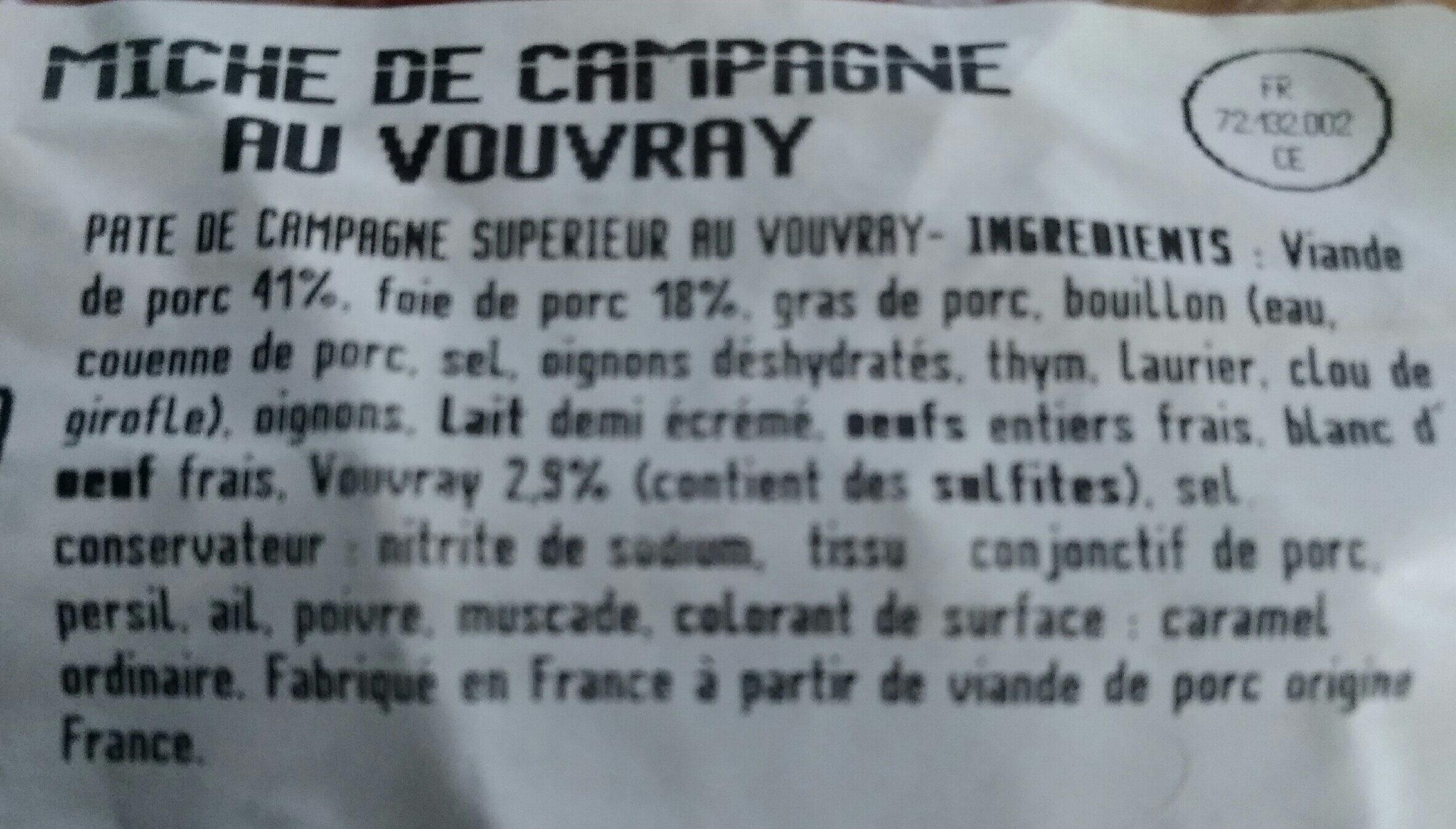 Miche de campagne au vouvray - Ingrediënten - fr