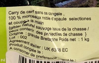 Carry de cerf congelé - Ingrédients - fr