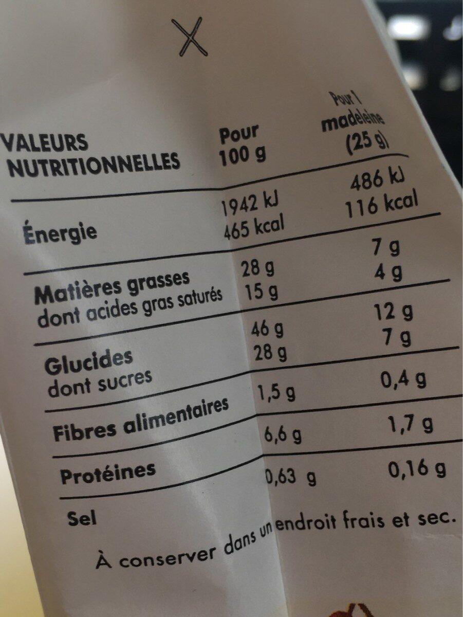 Madeleine Pistache 250g - Informations nutritionnelles - fr