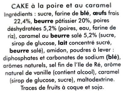 Cake à la poire et au caramel - Ingrediënten - fr