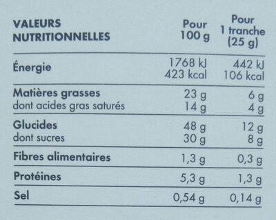 Cake à la poire et au caramel - Voedingswaarden - fr
