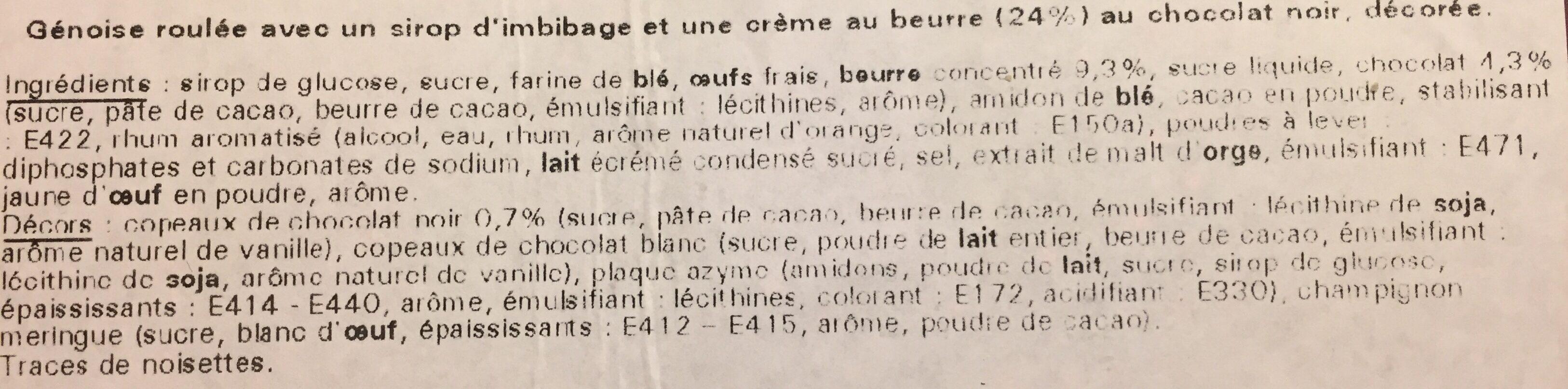 Bûche pâtissière, chocolat - Ingrediënten