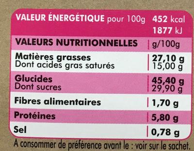 Cake Nature & Chocolat - Voedingswaarden