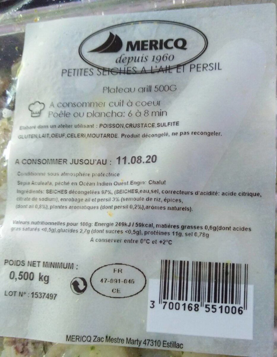 500G Plat Grill Supions Ail&pe - Product - fr