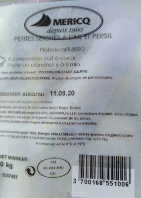 500G Plat Grill Supions Ail&pe - Voedingswaarden - fr