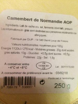 Camembert de normandie AOP - Ingredients - fr