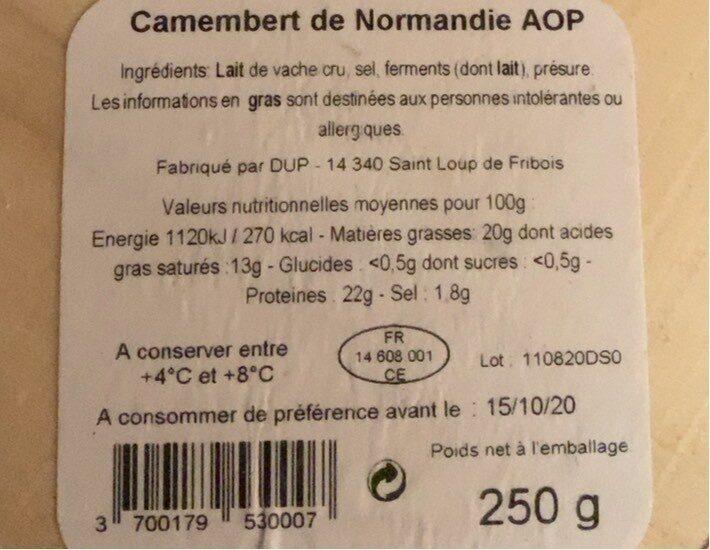 Camembert de normandie AOP - Nutrition facts - fr