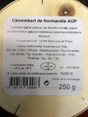 Camembert de Normandie AOP (20% MG) Lait cru - Ingrediënten - fr