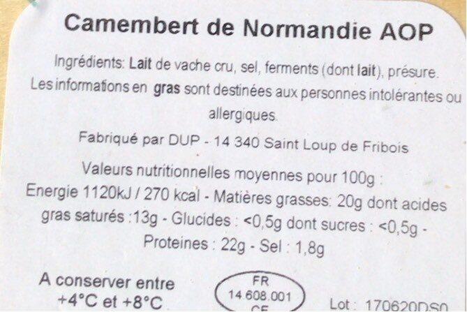 Camembert de Normandie AOP (20% MG) Lait cru - Voedingswaarden - fr