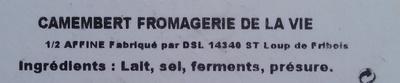 Camembert de Normandie AOP (20% MG) au lait cru - Ingrediënten - fr