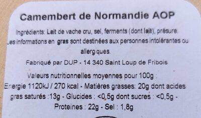 Camembert La petite Normandie AOP - Nutrition facts - fr