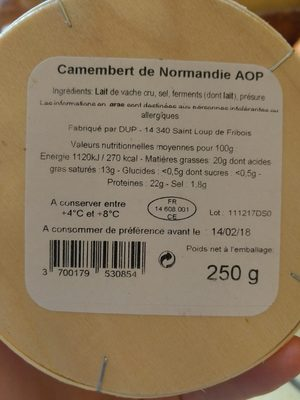 Camembert de Normandie AOP - Ingredients - fr