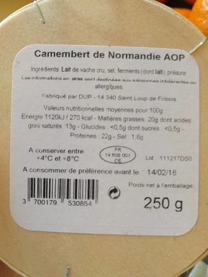Camembert de Normandie AOP - Nutrition facts - fr