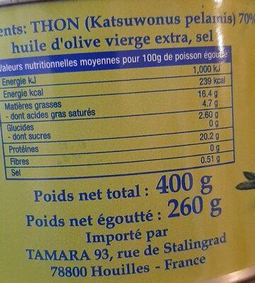 Thon entier á l'huile d'olive - Valori nutrizionali - fr