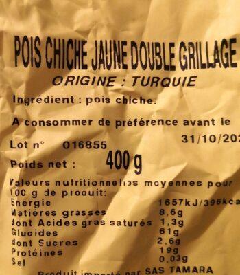 Pois Chiches Jaune Double Grillage - Informations nutritionnelles - fr
