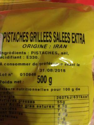 Pistaches grillees salees extra - Ingrediënten - fr