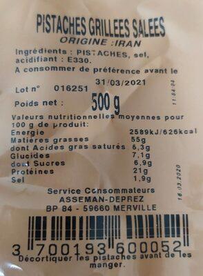 Pistaches grillees salees extra - Voedingswaarden - fr