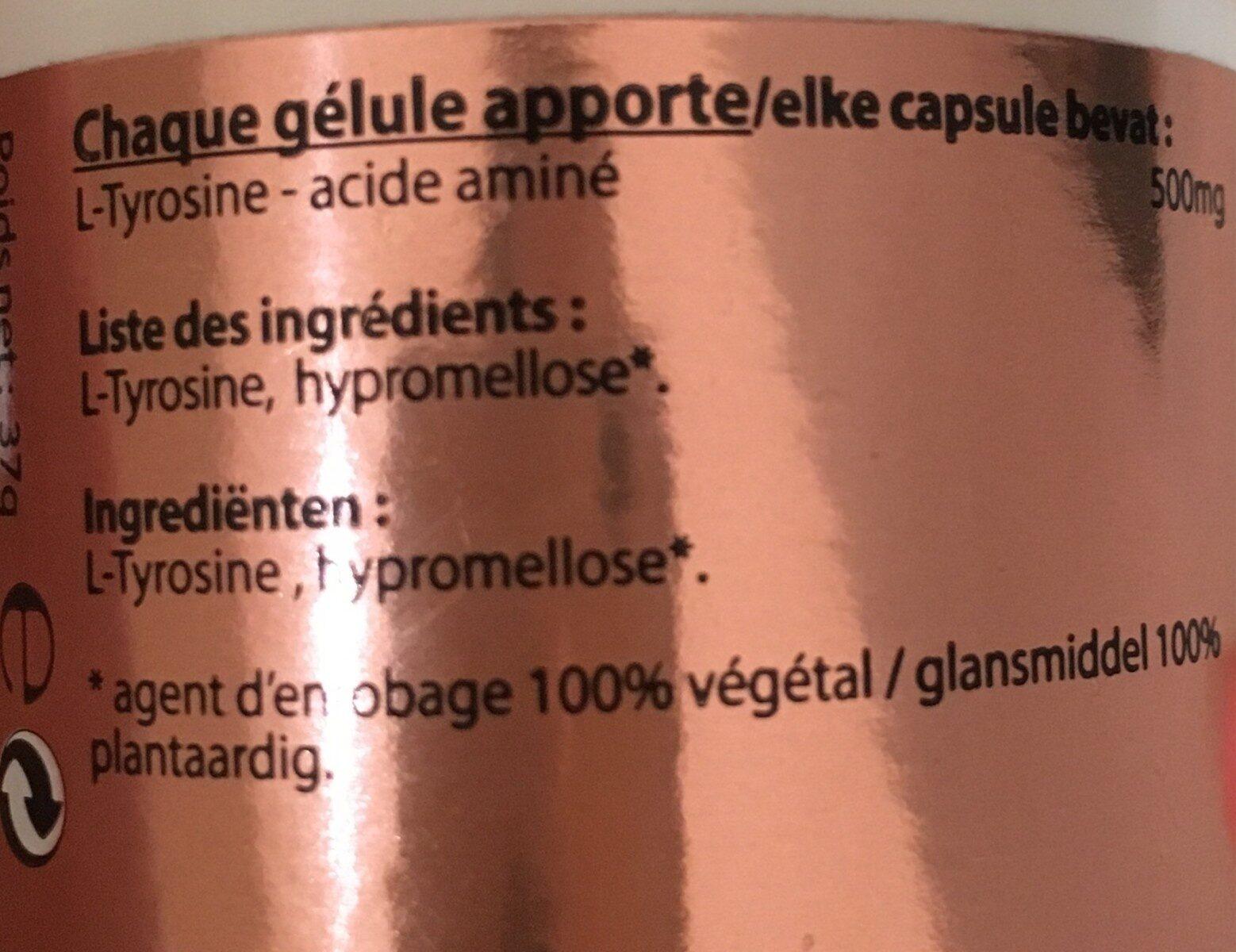 L-tyrosine 500 MG - 60 Gélules - Vitall+ - Ingrédients - fr