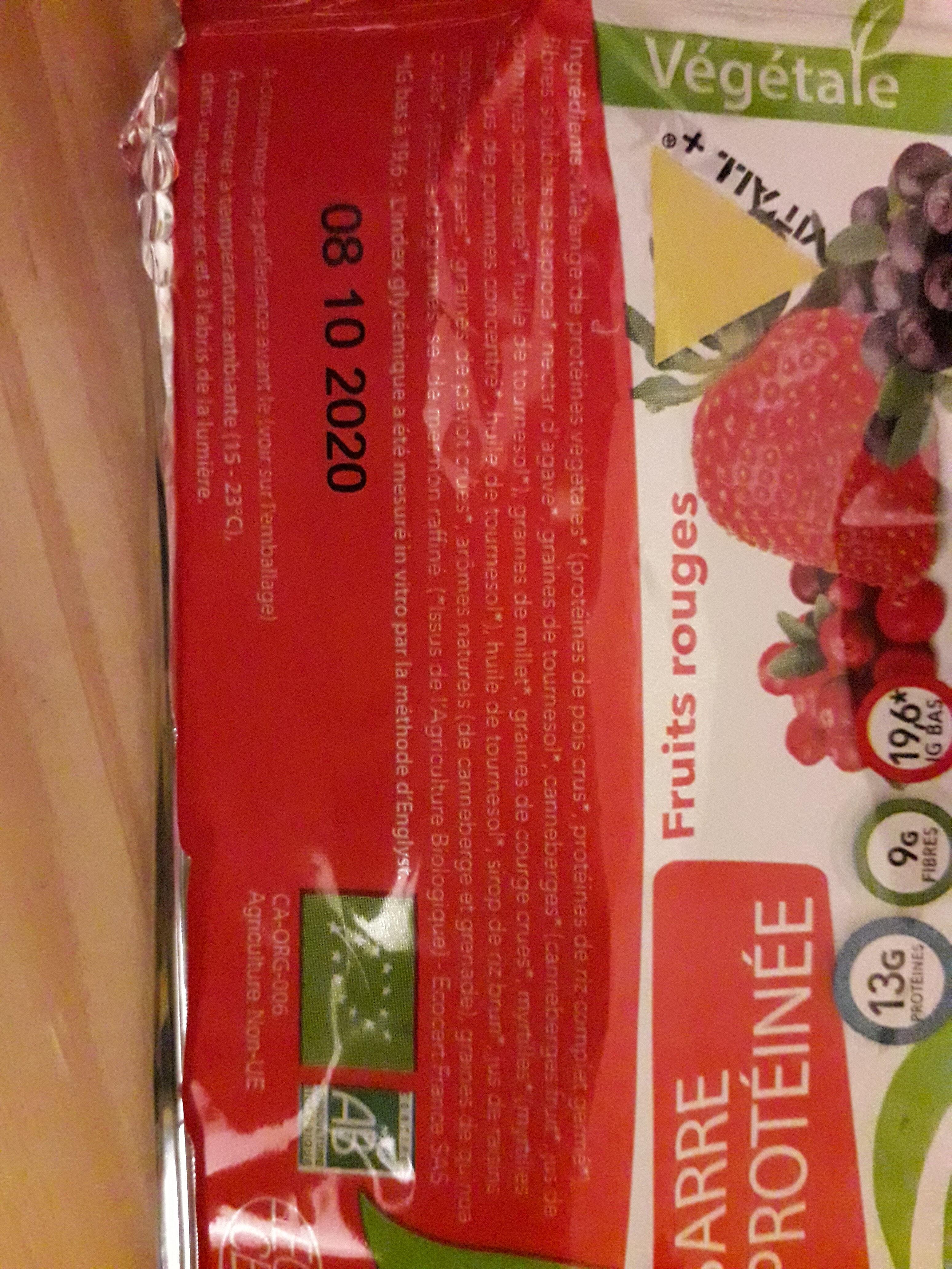 barre protéinée fruits rouges - Ingrédients