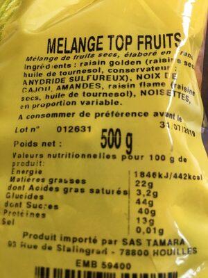 Mélange top fruits - Ingrediënten