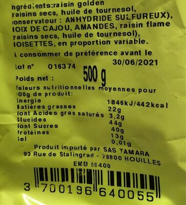 Mélange top fruits - Voedingswaarden
