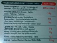 Biscuits nappés choco'lait - Informations nutritionnelles - fr