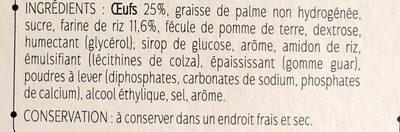 Madeleines type sans gluten - Ingredients