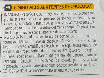Allergo mini cakes pepites de chocolat - Ingrediënten