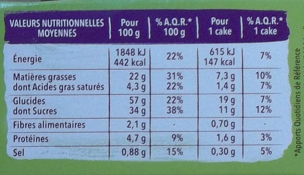 Mini Cakes Marbrés Gerblé - Informations nutritionnelles - fr