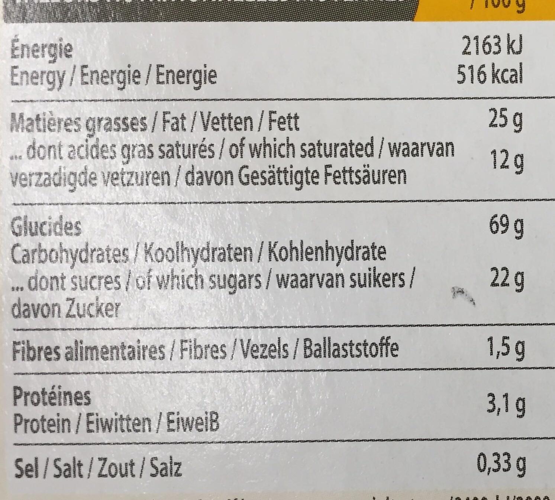 Biscuits nappés au chocolat noir - Voedingswaarden - fr