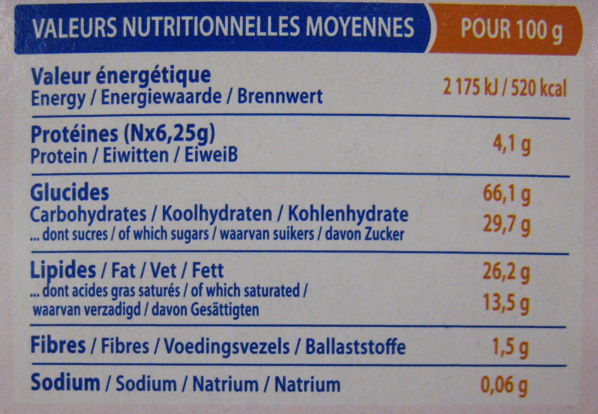 Cookies Pépites de Chocolat - Valori nutrizionali - fr