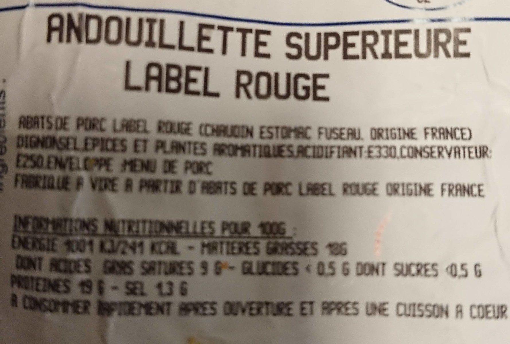 Andouillette supérieure label Rouge - Ingrédients