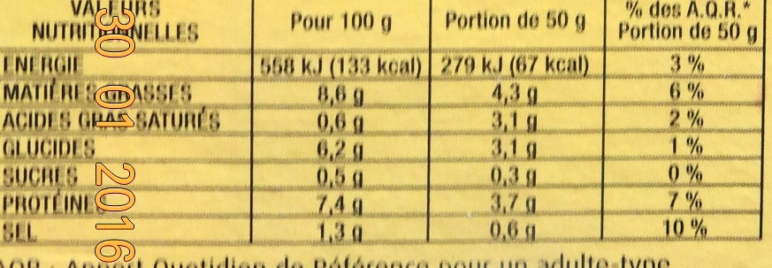 La Terrine Fine aux Saint Jacques - Informations nutritionnelles