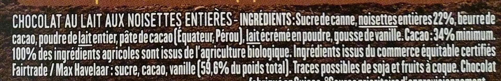 Lait noisettes entières - Ingredients