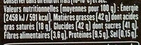 Lait noisettes entières - Nutrition facts