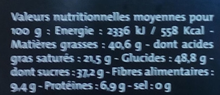 Noir éclats d'amandes - Nutrition facts