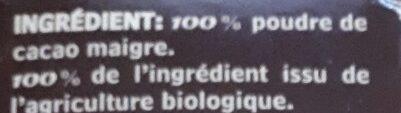 Cacao Poudre Bio - Ingrédients - fr
