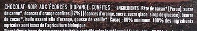 Chocolat noir aux écorces d'orange - Ingrédients - fr