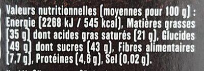 Chocolat noir aux écorces d'orange - Informations nutritionnelles - fr