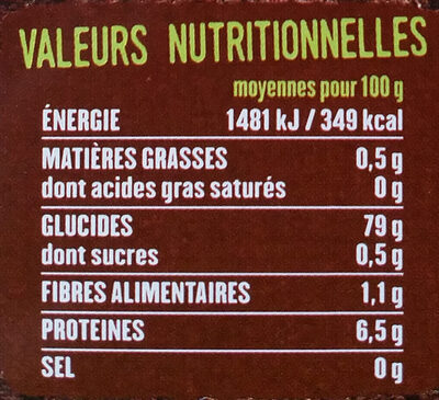 Riz thaï - Nutrition facts - fr