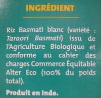 Riz Basmati Bio et Ethiquable Alter Eco - Ingrédients