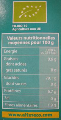 Riz Basmati Bio et Ethiquable Alter Eco - Informations nutritionnelles