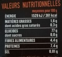 Riz rouge - Voedingswaarden - fr