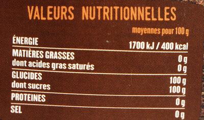 Sucre Blond en morceaux - Informations nutritionnelles - fr