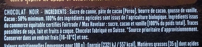 Tablette chocolat Noir - Ingredients