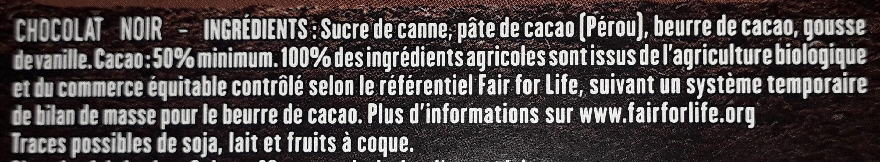 Tablette chocolat Noir dessert - Ingredients - fr