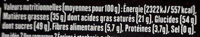 Tablette chocolat Noir dessert - Nutrition facts - fr