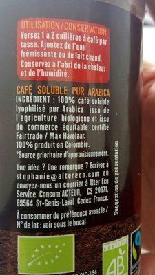 Pur Arabica Colombie - Ingrédients - fr