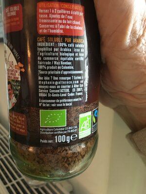 Pur Arabica Colombie - Informations nutritionnelles - fr